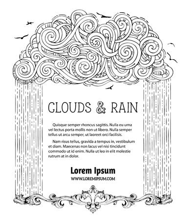 Nube Negra Lineal A Mano Y Lluvia Sobre Fondo Blanco. Decoración De ...