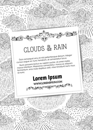 drizzle: Black outlined clouds and rain on white background. Doodles swirls and drops. There is copy space for text on white square paper. Colouring book for adults template.