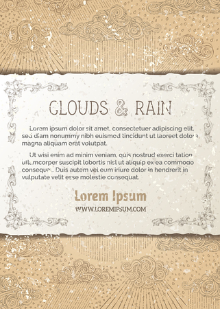 drizzle: Sketch of clouds and rain on old paper background. Hand-drawn swirls, spirals, drops and curls. There is copy space for your text on paper in front of pattern.
