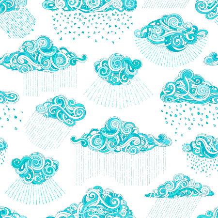 Doodles clouds and rain drops on white background. Blue and white boundless rainy pattern. Hand-drawn swirls, spirals and curls.