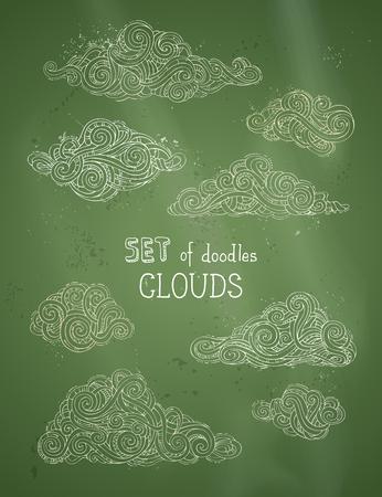 Hand-drawn doodles swirls, scribbles, spirals, curls and patterns. Illustration