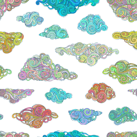 ornate swirls: Various ornate clouds on white background. Doodles boundless weather background. Hand-drawn swirls, spirals and curls. Illustration