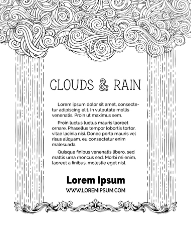 drizzle: Frame of doodles clouds and hand-drawn rain on white background. There is copy space for your text in the center. Colouring book for adults template.