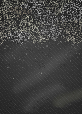 drizzle: Hand-drawn chalk clouds and rain on blackboard background. There is copy space for your text at the bottom of illustration. Doodles swirls, spirals and curls. Illustration