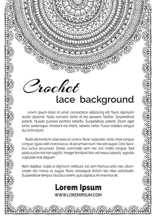Vector lacy crochet doily background. Ornate knitted pattern and edgings. Decorative design elements. Handmade sketch ornaments. Vettoriali