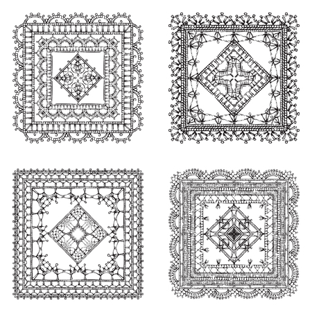 Vector set of lace crochet square ornaments. Sketch filet crochet patterns and doilies. Decorations for scrapbook isolated on white background.
