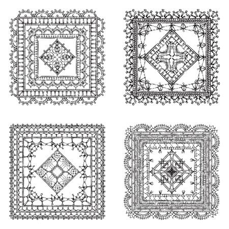 Vector Reihe von Spitze crochet quadratischen Ornamente. Sketch Filete Häkeln Muster und Deckchen. Dekorationen für scrapbook isoliert auf weißem Hintergrund.
