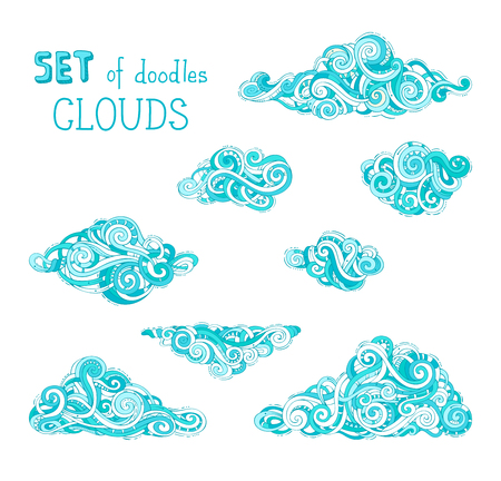 Vector set of cartoon clouds. A lot of various doodles ornate clouds isolated on white background. Hand-drawn swirls, spirals and curls.