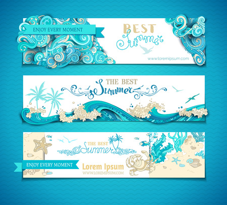 Vector set of summer marine horizontal banners. The best summer. Ornate clouds. Seaocean waves. Underwater wild life. Algae, fish, starfish, crab. There is place for your text on white background.