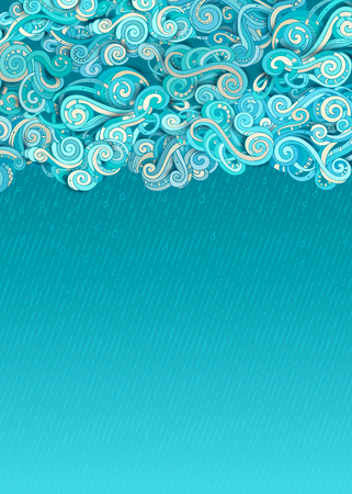 Vector rain clouds background. Doodles clouds and hand-drawn rain on blue background. There is copy space for your text in the sky. Illustration