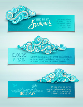Vector set of clouds horizontal banners. Hand-drawn doodles clouds and rain drops. There is copy space for your text in blue sky. Summer templates.