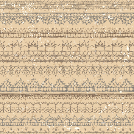 Vector Vintage Crochet Seamless Pattern Horizontal Knitted Edging