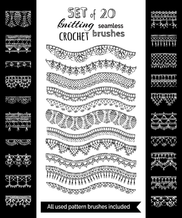 Vector set of 20 crochet patterns for borders, edgings and trims. Sketch seamless knitting brushes. All used pattern brushes included. Vettoriali