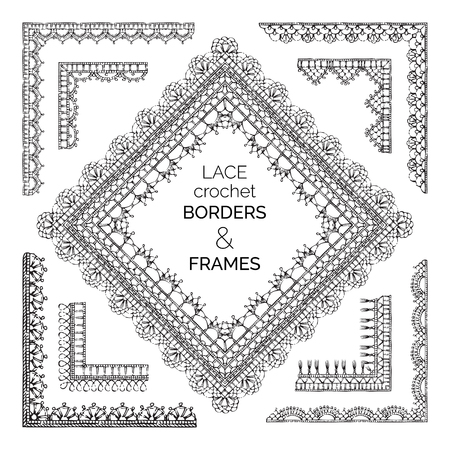 Vector Set Of Sketch Lace Crochet Borders And Frames Sketch