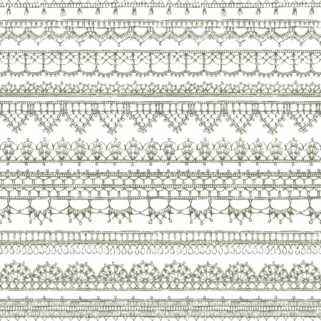 Vector lacy crochet seamless pattern. Sketch knitted edging patterns and lacy borders on white background.