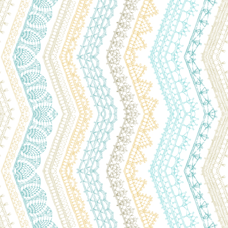 Vector Zigzag Croched Seamless Pattern Vertical Lacy Knitted