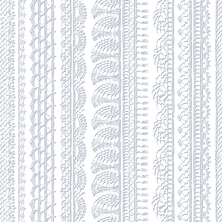 Vector white croched seamless pattern. Vertical knitted edging patterns and lacy borders on white background. Hand-drawn sketch boundless background.
