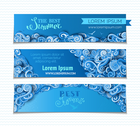 Vector set of horizontal swirls banners. Hand-drawn ornate clouds, curls and spirals. There is copy space for your text on dark blue background. Summer sky web templates.