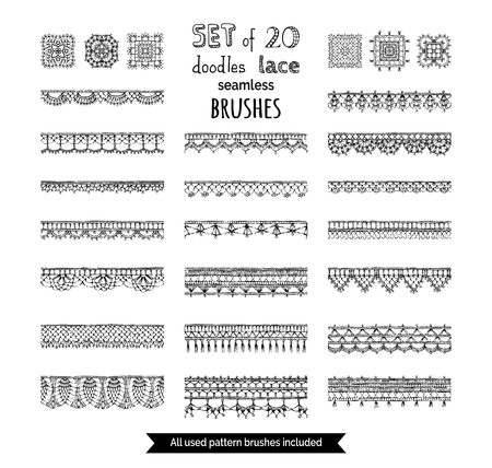 Vector set of 20 doodles lace seamless brushes. Sketch crochet edging patterns. All used pattern brushes included.