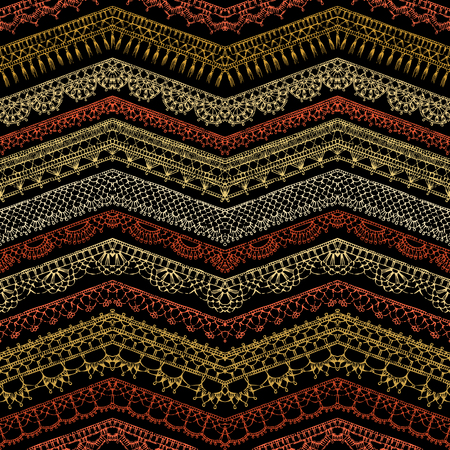needle laces: Vector dark zigzag croched seamless pattern. Horizontal knitted edging patterns and lacy borders on black background.