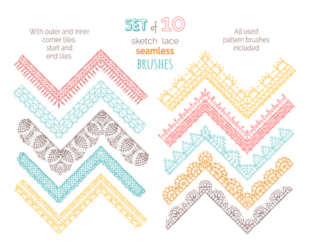 Vector set of 10 sketch lace crochet seamless brushes. Outer and inner corner tiles, start and end tiles included. Sketch knitting colourful edging patterns.