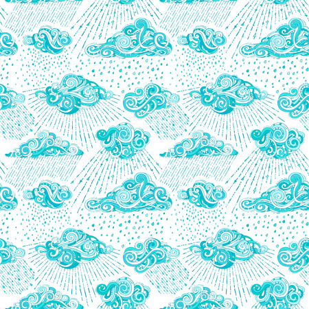 Blue ornate clouds and rain drops on white background. Cartoon boundless rainy background. Ilustrace