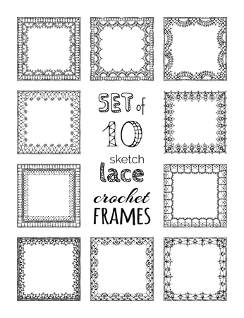 Vector Set Of 10 Sketch Lace Crochet Square Frames Ornate Crochet