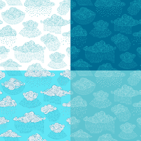 Vector set of rainy seamless patterns. Doodles clouds and rain drops. Cartoon boundless wet weather background. Hand-drawn swirls, spirals and curls.