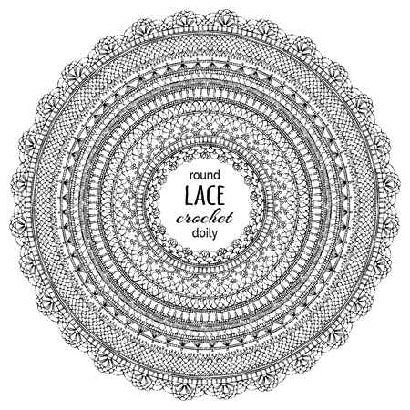 needle laces: Vector doodles lace round crochet frame. Sketch doodles ornamental lace pattern. Decorative design elements. Knitted ornaments.