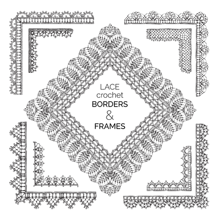 Vector Set Of Lace Crochet Borders And Frames Lace Stripes Patterns