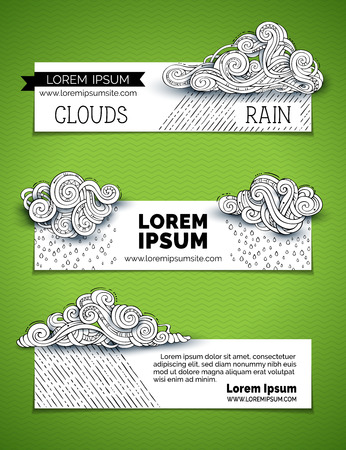 Vector set of doodles clouds horizontal banners. Hand-drawn ornate clouds, rain drops, curls, swirls and spirals. There is copy space for your text on white background.