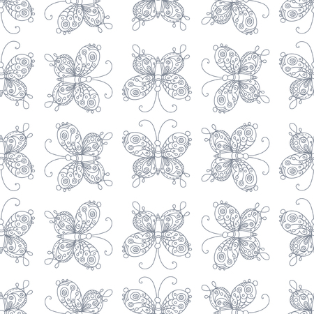 Vector seamless pattern of butterflies. Doodles ornate butterflies. Boundless duotone hand-drawn background. Illustration