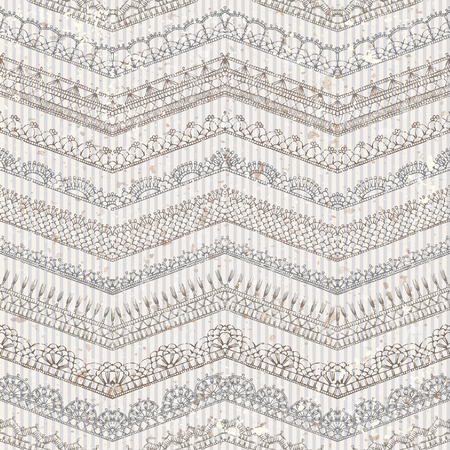 Vector vintage seamless pattern of lacy crochet edges. Ornate horizontal zigzag edging and border patterns on old striped background. Hand-drawn knitted ornate boundless texture.