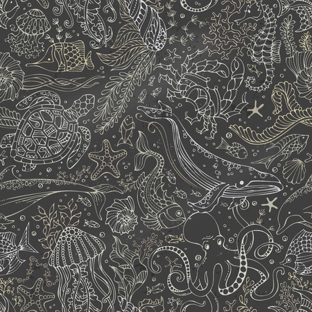 Vector chalk underwater sea life boundless blackboard background. Whale, dolphin, turtle, fish, starfish, crab, octopus, shell, jellyfish, seahorse, seaweed.