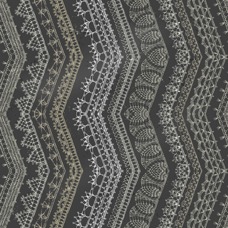 Vector Chalk Zigzag Crochet Seamless Pattern Vertical Knitted