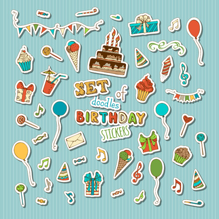 Vector set of retro patches, stickers, embroidery and sticky labels. Birthday cake with candles, birthday hats and gifts, cupcakes and drinks, balloons, music notes, blowouts, garland, firework.