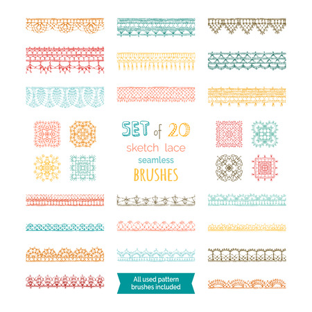 Knitted crochet edging patterns and borders isolated on white background. All used pattern brushes included.