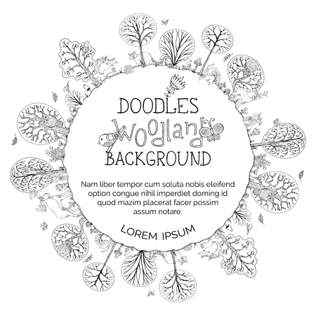 Doodles woodland that can be used in a colouring book.