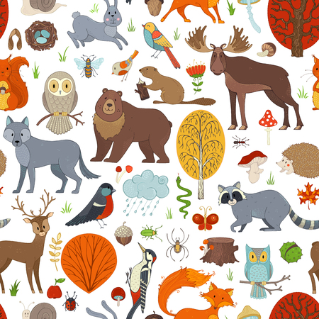 Vector woodland seamless pattern. Autumn trees, mushrooms and leaves. Wild animals, birds and insects. Fox, wolf, deer, moose, bear, hare, squirrel, racoon, hedgehog, owl, bee, beaver, snail and snake.