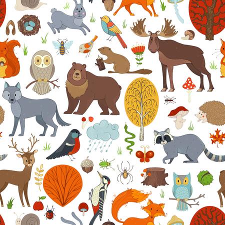 Vector seamless pattern di boschi. Alberi autunnali, funghi e foglie. Animali selvatici, uccelli e insetti. Volpe, lupo, cervo, alce, orso, lepre, scoiattolo, procione, riccio, gufo, ape, castoro, lumaca e serpente. Archivio Fotografico - 85650564