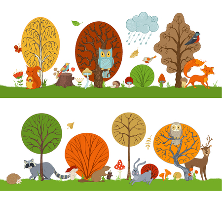 Vector forest set with autumn trees, cute animals and birds. Hare, fox, beaver, squirrel, deer, raccoon, owl, hedgehog, mushrooms and flowers made in cartoon style. Autumn weather. Falling leaves.