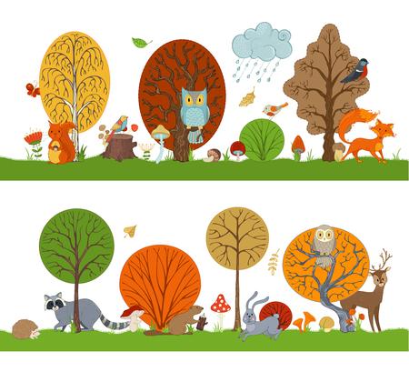 Vektorwald stellte mit Herbstbäumen, süßen Tieren und Vögeln ein. Hase, Fuchs, Biber, Eichhörnchen, Hirsch, Waschbär, Eule, Igel, Pilze und Blumen im Cartoon-Stil. Herbstwetter. Fallende Blätter. Standard-Bild - 85774138