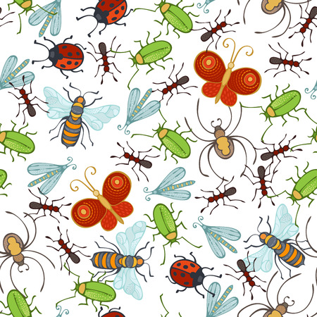 Cartoon bee, butterfly, spider, wasp, ant, ladybug, moth, bug on white background. Hand-drawn boundless background. Vector Illustration
