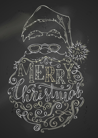 Vector chalk Merry Christmas Lettering on blackboard background. Hand-drawn chalk contour of Santa Claus face. Hat with pompon, glasses and curly beard with swirls and congratulations.