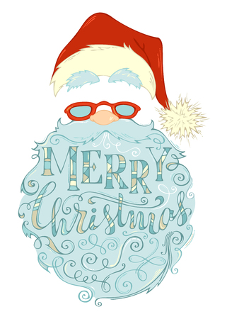 Merry Christmas Lettering in Santa Claus beard. Santa Claus face, hat with pompon, glasses and curly beard isolated on white background. Vector hand-drawn illustration. Illustration