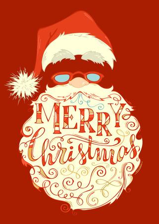 Merry Christmas lettering on Santa Clauss face vector Illustration