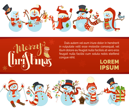 A Vector Merry Christmas and Happy New Year background with cute snowmen who are skiing and singing. They are with candy cane, gift, garland, baubles, birds. There is copy space. Illustration