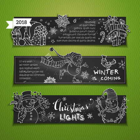 A Vector set of chalk horizontal Christmas banners. Cute snowmen, skates, Christmas lights, gifts and a bird, Santa hat, snowflakes and stars. Copy space for your text. Illustration