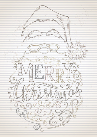 Vector vintage Merry Christmas Lettering. Santa Claus face, hat with pompon, glasses and curly beard on old striped background. Illustration