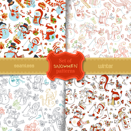 Vector set of seamless snowmen patterns. Snowmen are singing, skating, skiing. Candy canes, gift boxes, Christmas baubles, birds, garland, stars. Cartoon colorful or outlined illustrations. Illustration